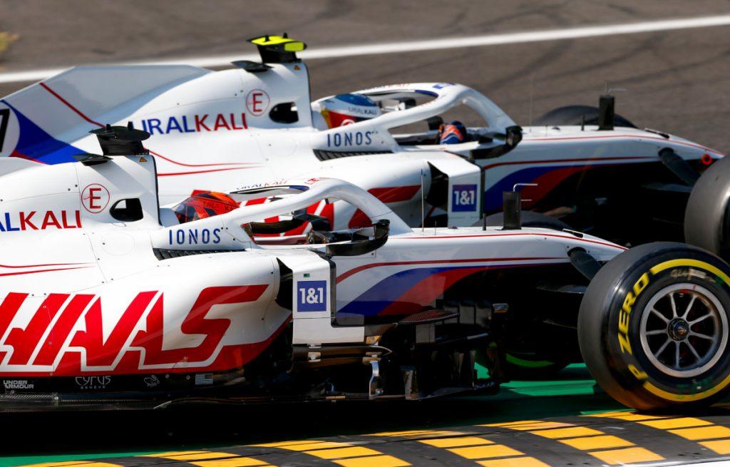 Nikita Mazepin races Mick Schumacher. Italy September 2021