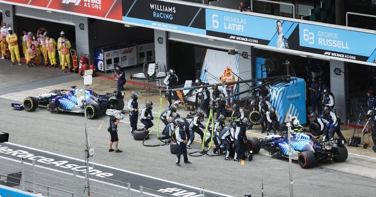 George Russell and Nicholas Latifi pitting. Spain May 2021