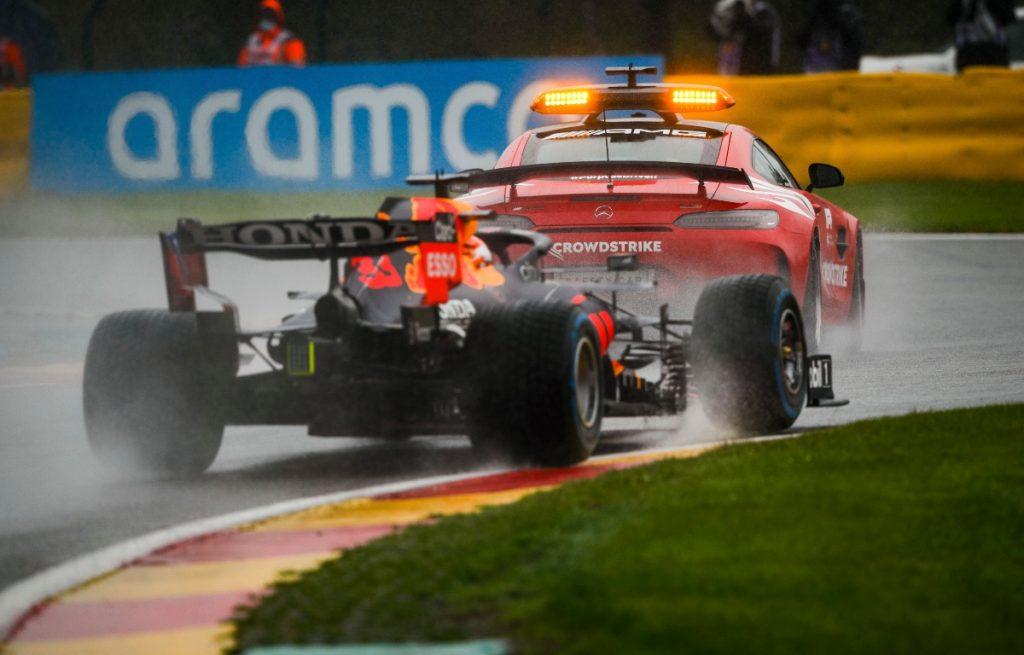 Max Verstappen follows the Safety Car. Belgium August 2021