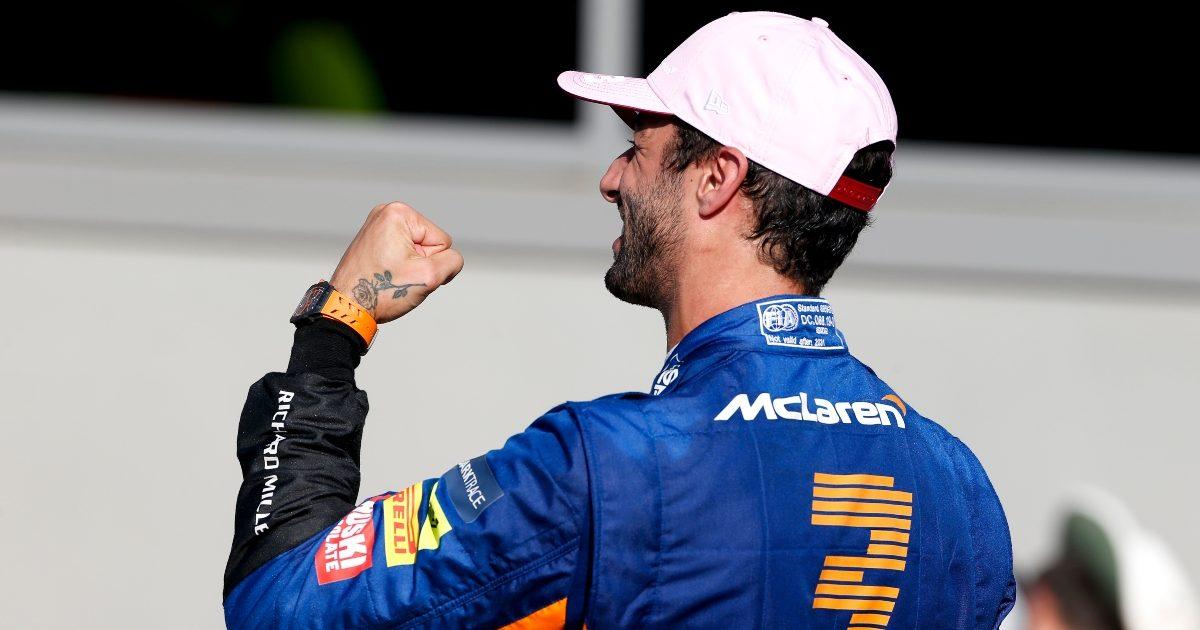 Daniel Ricciardo celebrates. Italy September 2021