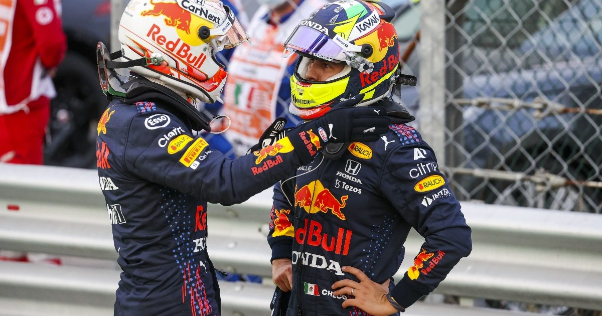 Max Verstappen and Sergio Perez after qualifying in Monza. Italy September 2021