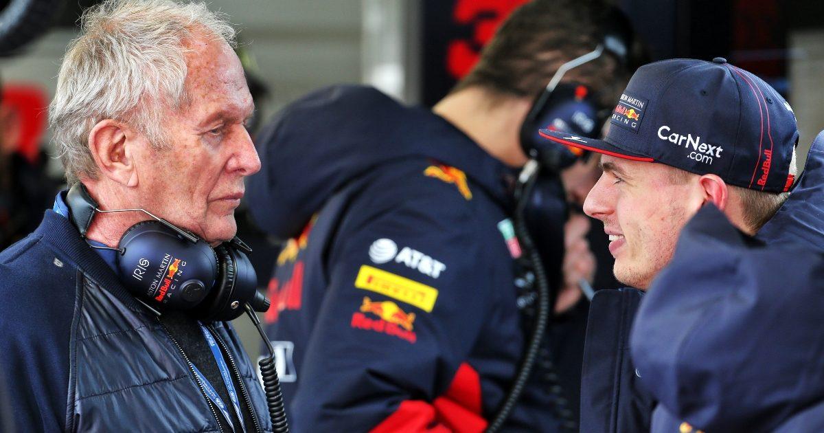 Helmut Marko and Max Verstappen at pre-season testing. Spain February 2020