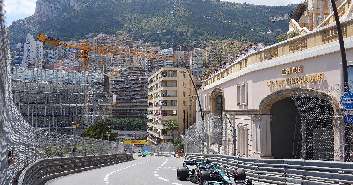 Sebastian Vettel on track at the Monaco Grand Prix. Monaco May 2021