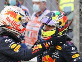 Max Verstappen hand on Sergio Perez. Italy September 2021
