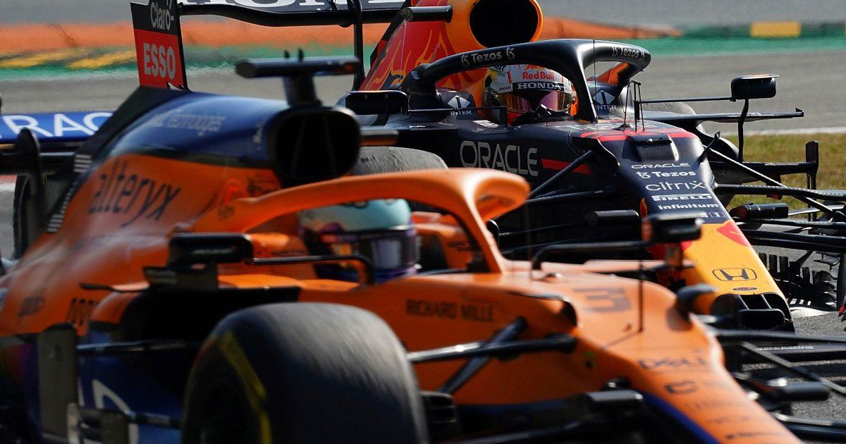 Daniel Ricciardo leads Max Verstappen. Italy September 2021