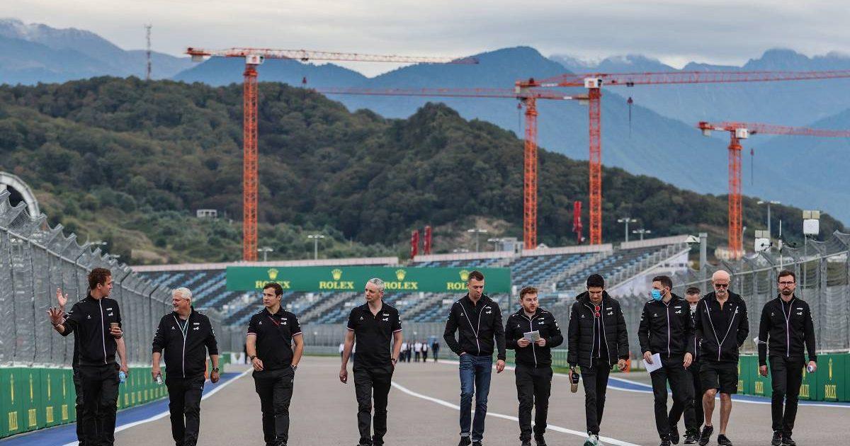 Esteban Ocon and Daniil Kvyat on the Alpine track walk for the Russian GP. Sochi September 2021.