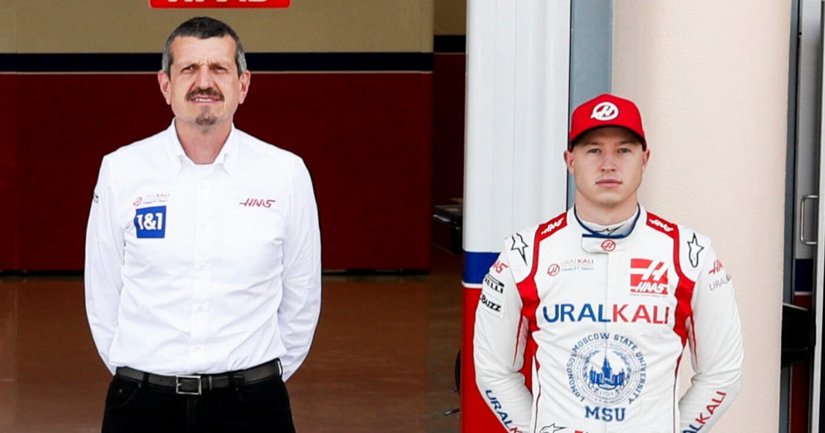 Guenther Steiner standing next to Nikita Mazepin. Bahrain March 2021