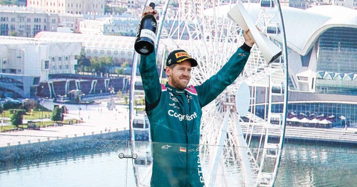 Sebastian Vettel celebrates after finishing second in the Azerbaijan GP. Baku June 2021.