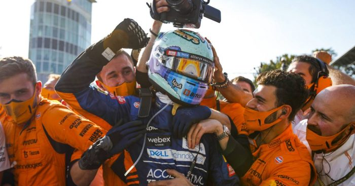 Daniel Ricciardo and McLaren celebrate winning the Italian GP. September 2021.