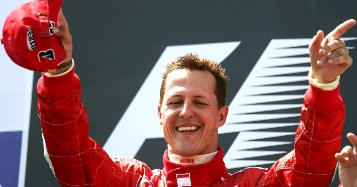 Michael Schumacher after winning the French GP. Magny-Cours July 2006.