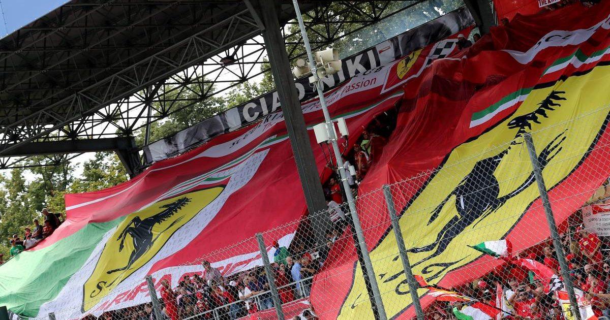 Ferrari and Italy flags at the Italian Grand Prix. September 2019.