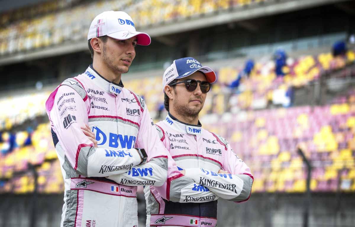 Esteban Ocon and Sergio Perez represented as Racing Point teammates in 2018.