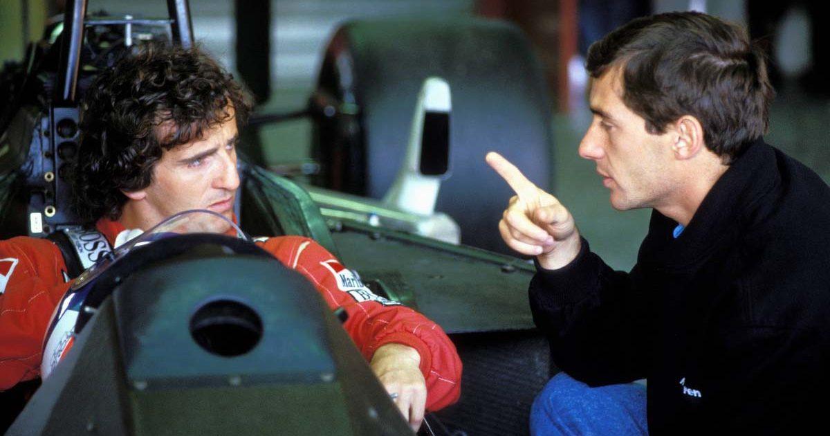 Alain Prost and Ayrton Senna speak in 1988.