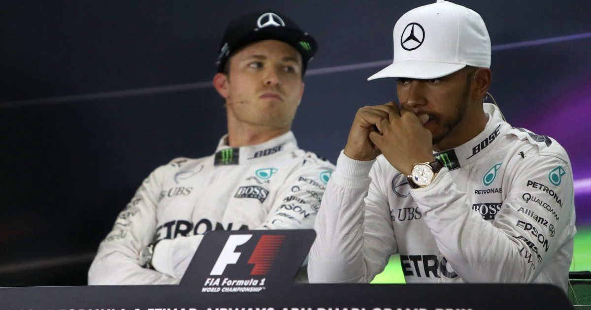 Nico Rosberg and Lewis Hamilton's post-race press conference in Abu Dhabi. 2016.