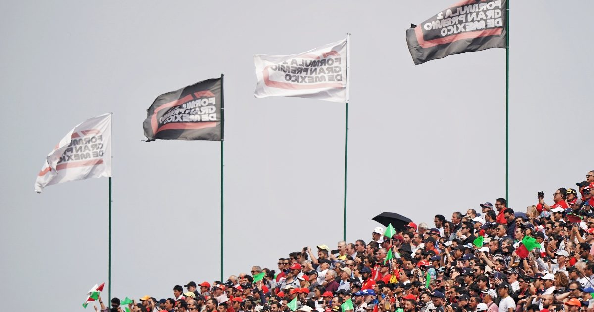 Flags flying above the grandstand during the Mexican Grand Prix. Mexico October 2019
