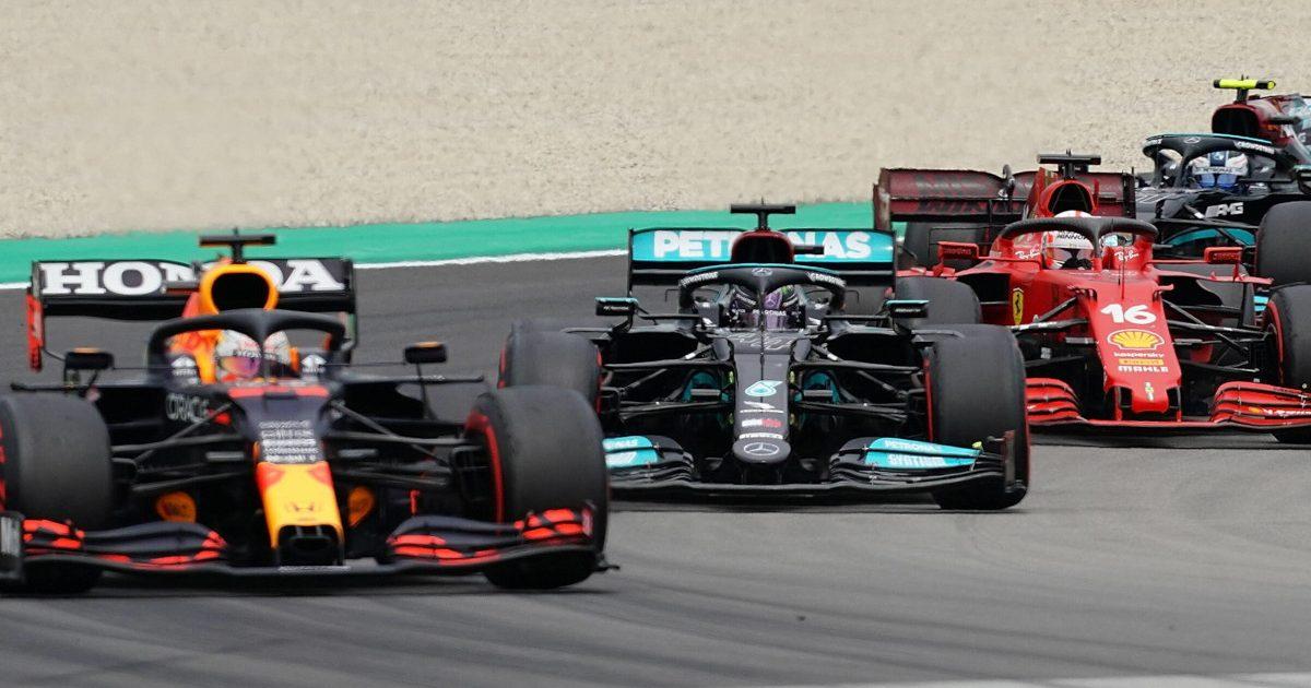 Max Verstappen Lewis Hamilton Charles Leclerc racing. Spain May 2021