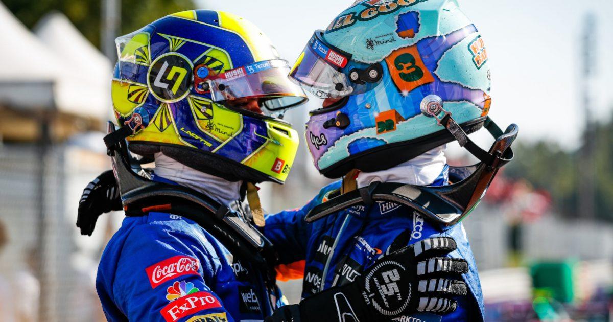 Lando Norris and Daniel Ricciardo hug. Italy September 2021