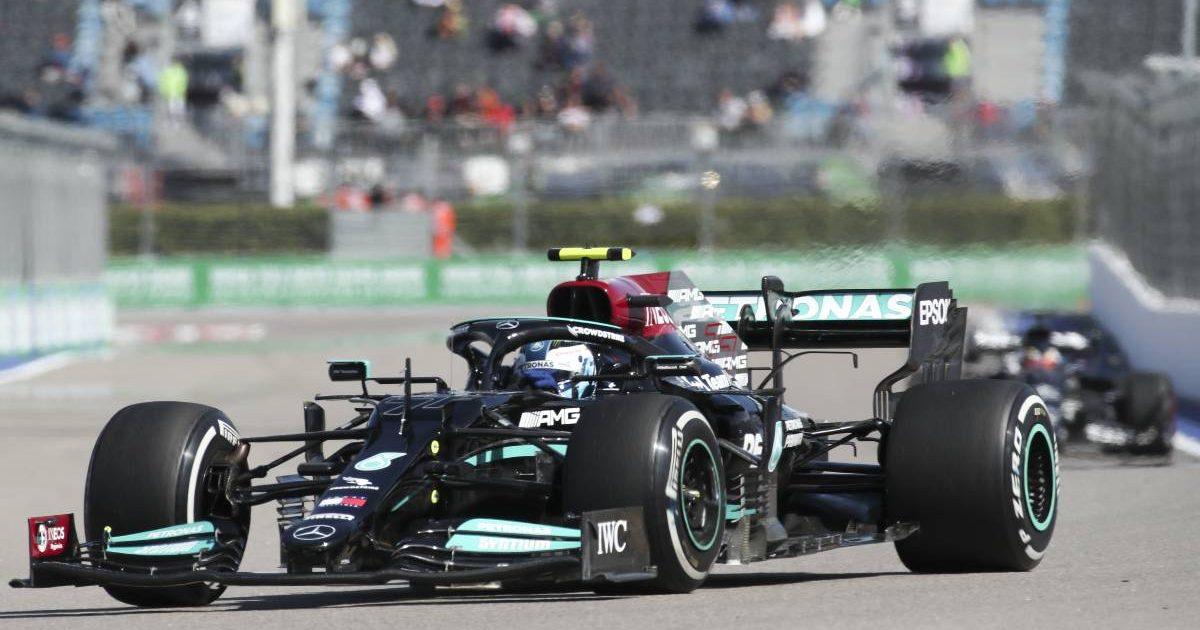 Valtteri Bottas' Mercedes during FP2 for the Russian GP. Sochi September 2021.
