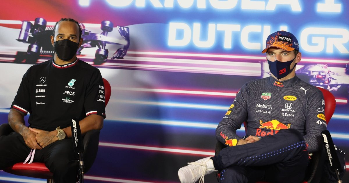 Lewis Hamilton and Max Verstappen speak to the media at the Dutch Grand Prix. Netherlands September 2021
