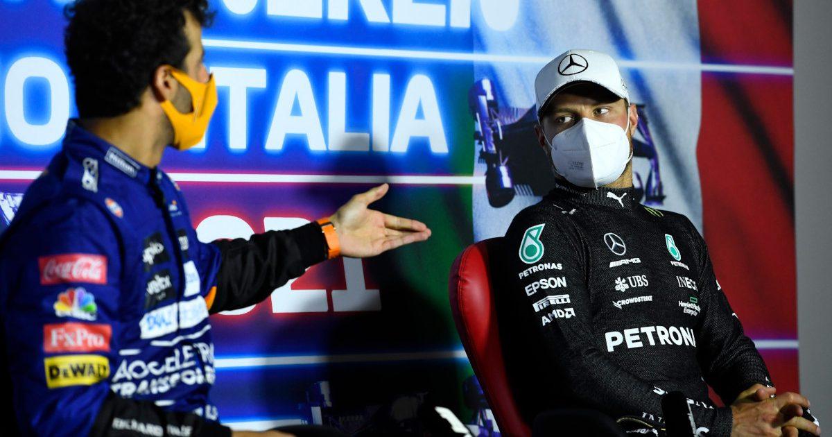 Daniel Ricciardo in a press conference with Valtteri Bottas. Italy September 2021