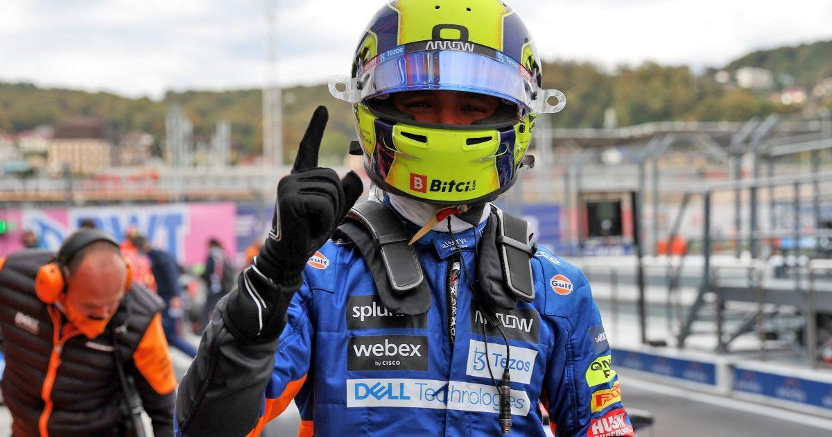 Lando Norris celebrates pole for the Russian Grand Prix. September 2021.