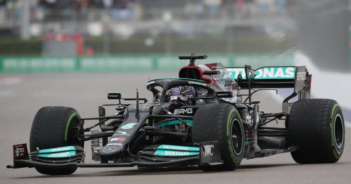Lewis Hamilton during qualifying for the Russian GP. Sochi September 2021.