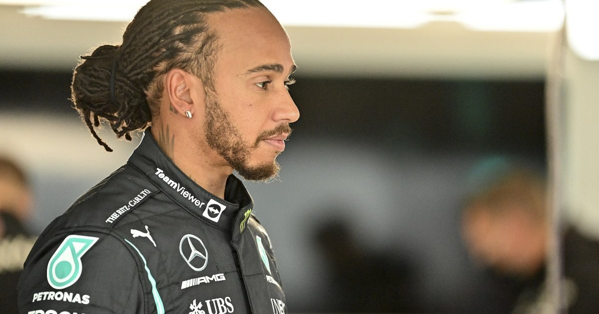 A stern-faced Lewis Hamilton in the Mercedes garage. Russia, September 2021.