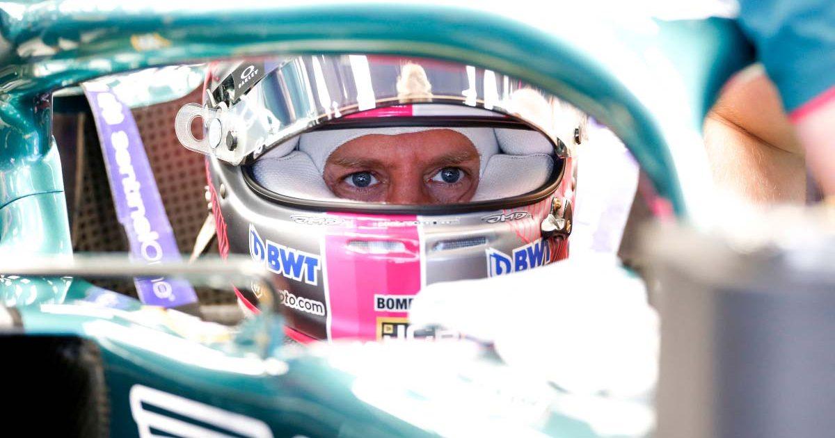 Sebastian Vettel in his Aston Martin cockpit.