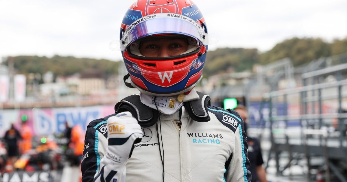 A George Russell fist pump as he qualifies P3. Russia, September 2021.