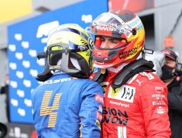Carlos Sainz and Lando Norris after qualifying in Russia.