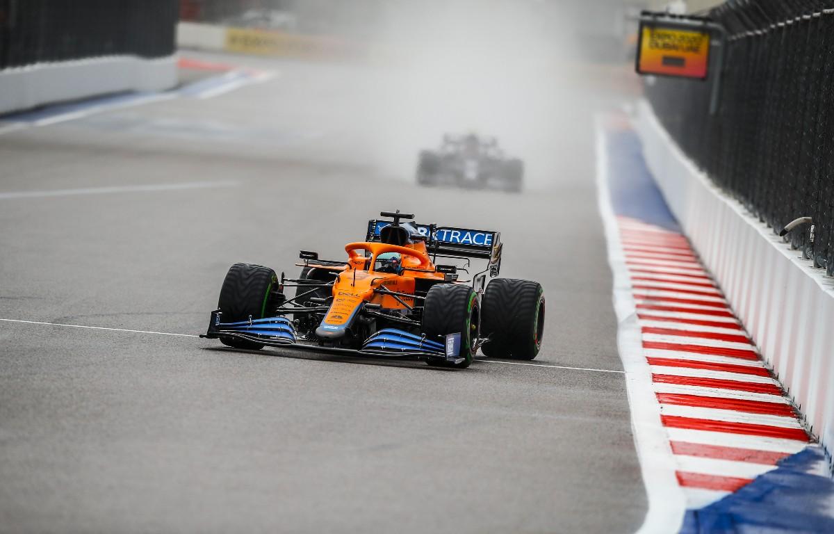 Daniel Ricciardo creates a cloud of spray. Russia, September 2021.