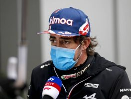 Fernando Alonso being interviewed after qualifying for the Russian GP. Sochi September 2021.