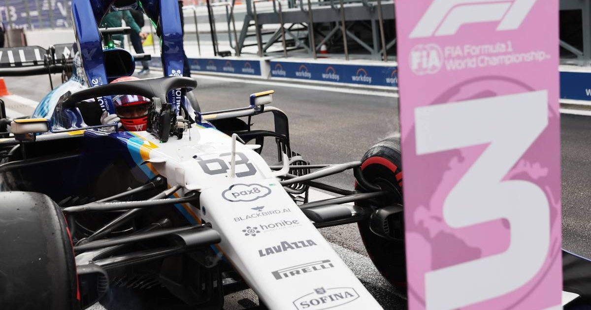 George Russell's Williams in the No 3 position after Russian GP qualifying. Sochi September 2021.