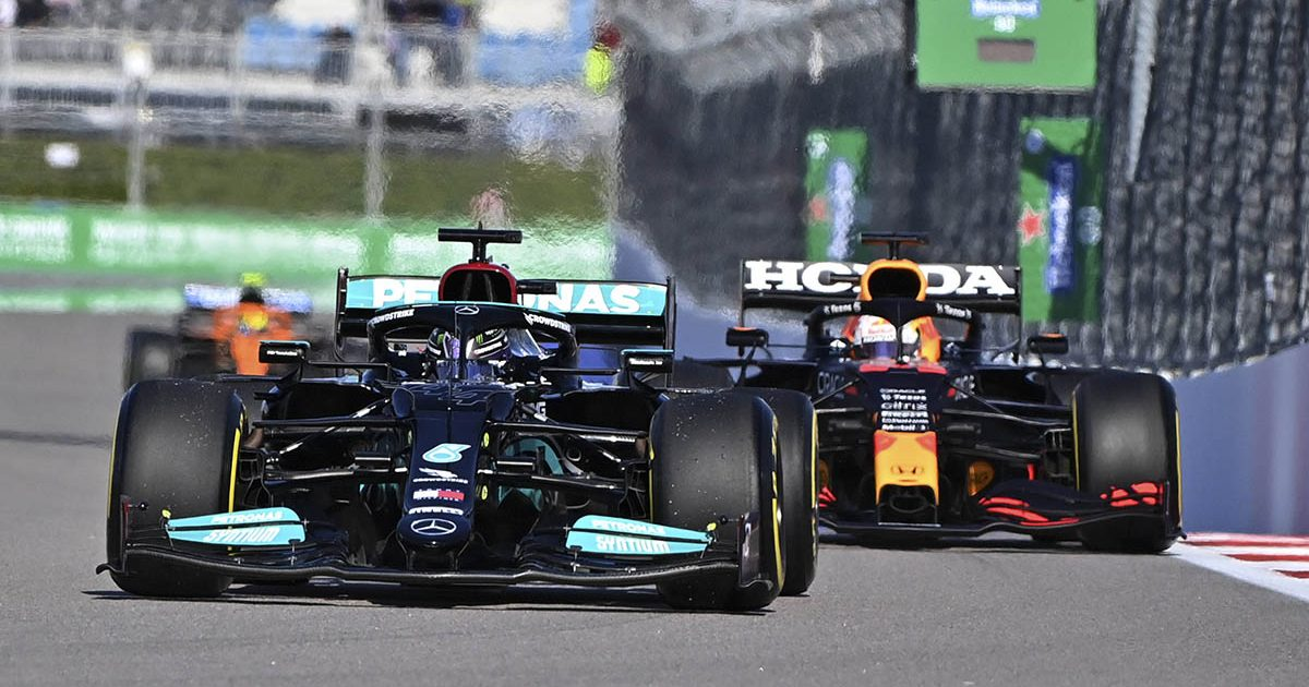 Mercedes of Lewis Hamilton and Red Bull of Max Verstappen at the Russian Grand Prix. Sochi September 2021