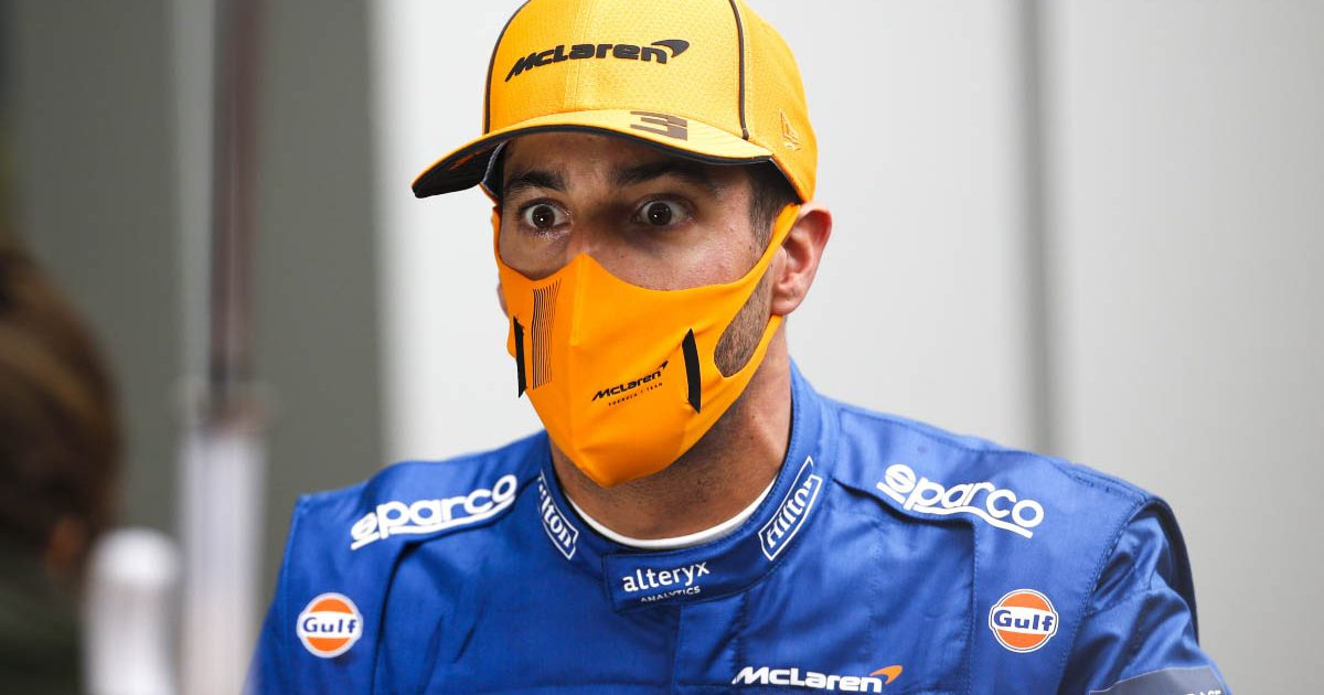 Daniel Ricciardo answers questions at Sochi. September 2021.