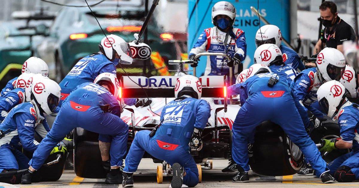 Haas' Mick Schumacher pits. Russia, September 2021.