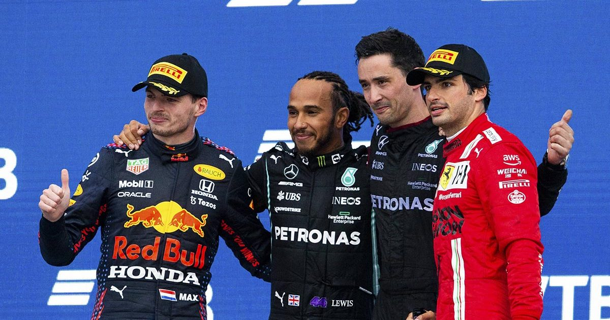 Lewis Hamilton, Max Verstappen and Carlos Sainz on the podium after the Russian Grand Prix. Russia September 2021