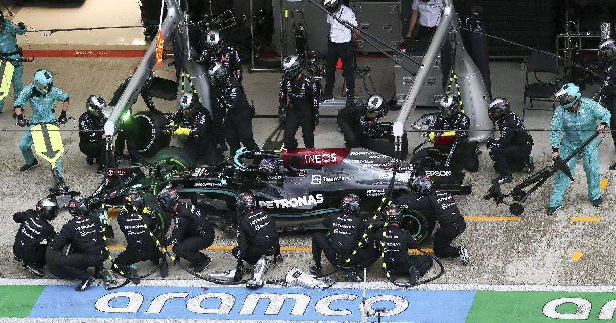 Lewis Hamilton pits at Sochi. Russia September 2021