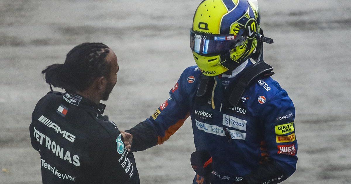 Lewis Hamilton with Lando Norris. Sochi September 2021