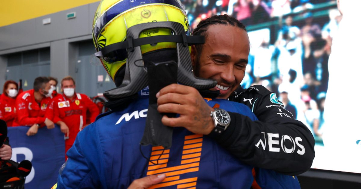 Lewis Hamilton hugs Lando Norris. Russia September 2021