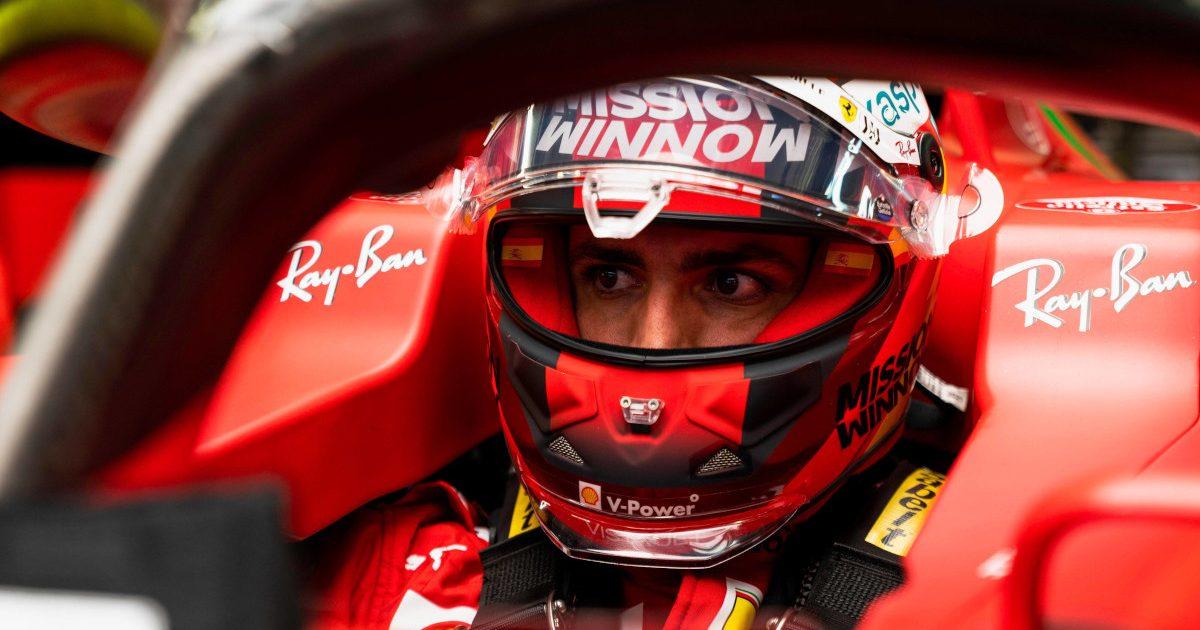 Carlos Sainz sitting in his Ferrari. Russia September 2021
