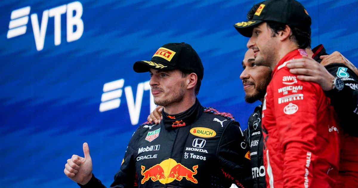 Max Verstappen on the podium with Carlos Sainz. Russia September 2021