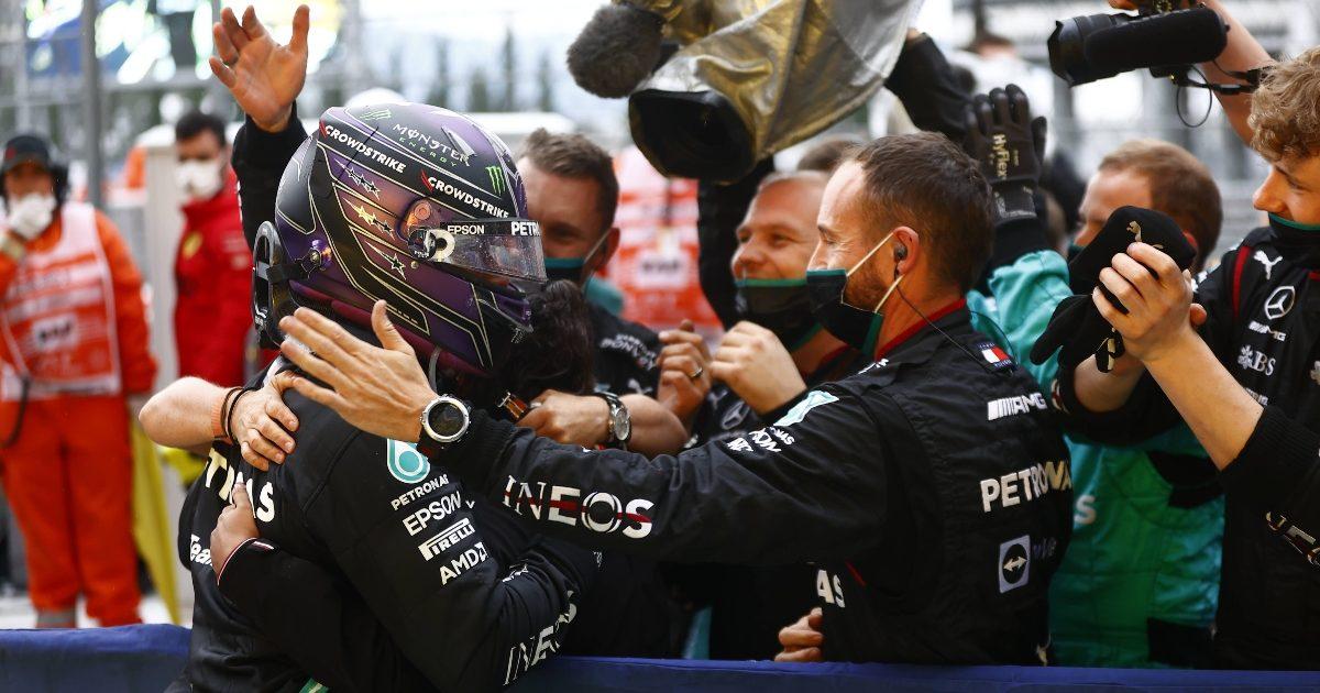 Lewis Hamilton celebrates in Sochi. Russia September 2021