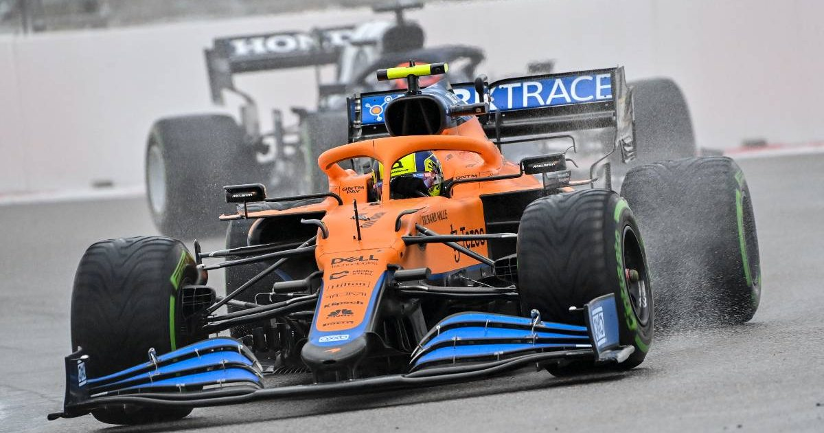 Lando Norris, McLaren, on intermediates. Russia, September 2021.