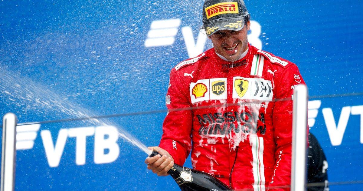 Carlos Sainz celebrating on the podium. Russia September 2021