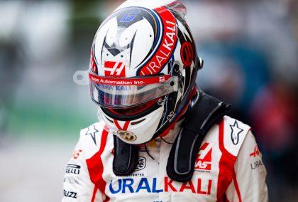 Nikita Mazepin looking down in helmet. Russia September 2021