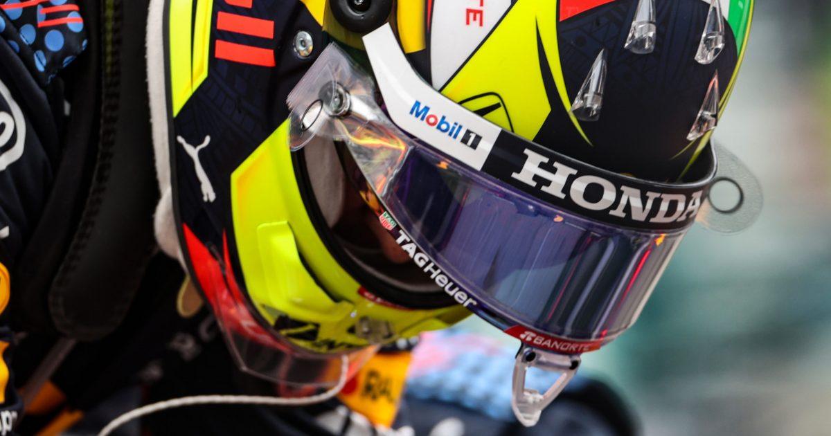 Sergio Perez head down in helmet. Russia September 2021