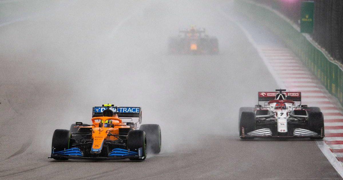 Lando Norris alongside Kimi Raikkonen during the Russian GP. Sochi September 2021.