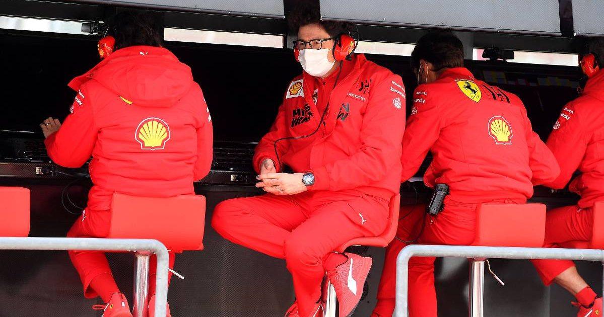 Mattia Binotto on the Ferrari pit wall. Imola April 2021.