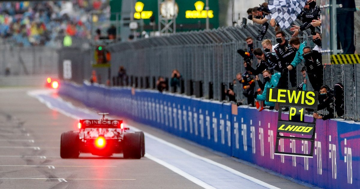 Lewis Hamilton crosses the line to win in Sochi. Russia September 2021